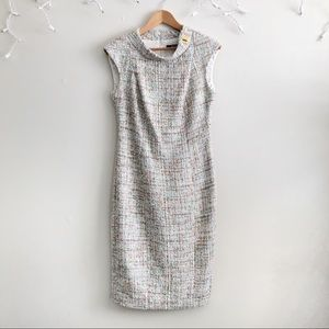 Badgley Mischka pastel tweed shift dress size 8